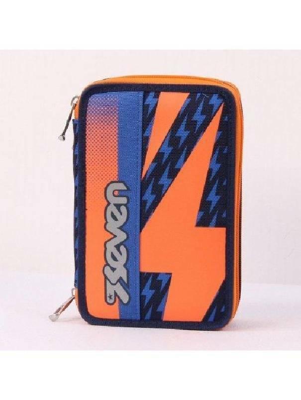 seven astuccio 3 zip seven flash up arancione blu