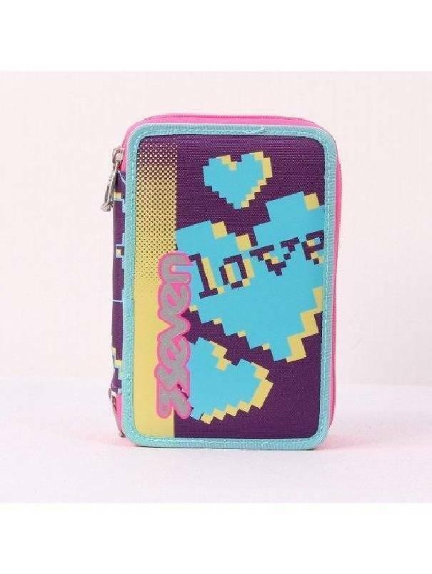 seven astuccio 3 zip love heart seven