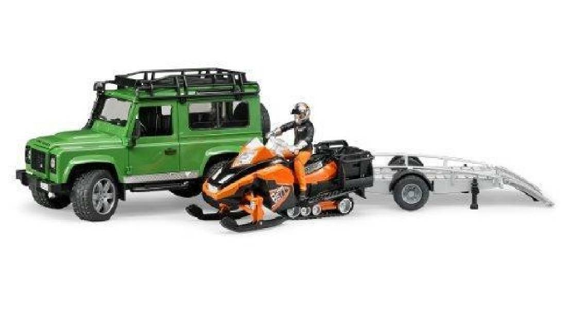 bruder bruder land rover on rimorchio e motoslitta