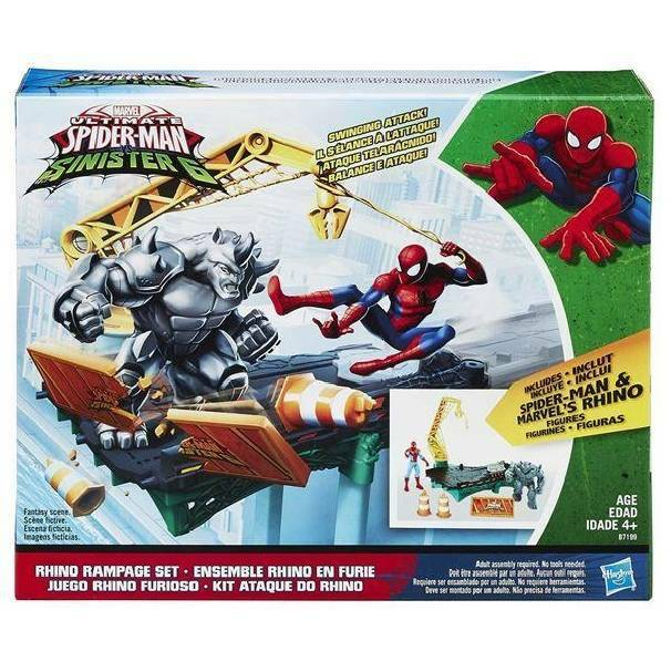 hasbro - mb hasbro - mb spiderman web city rhino rampage set