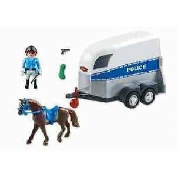 playmobil playmobil poliziotta a cavallo con rimorchio