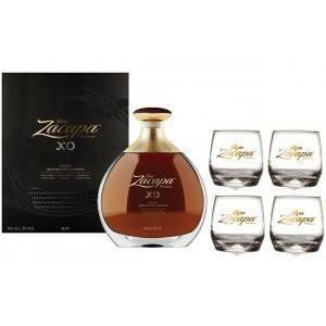 zacapa rum zacapa xo   70cl   in astuccio con  4 bicchieri basculanti serigrafati dal logo bianco