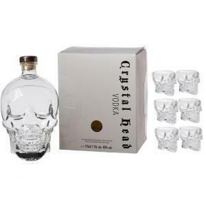 crystal head crystal head vodka 1,75 litri in astuccio + 6 bicchieri originali a forma di teschio