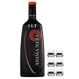 marzadro marzadro anima nera liquore alla liquirizia 3 litri con 6 bicchieri