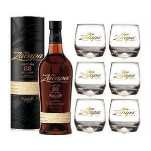 zacapa zacapa rum 23 anni 70 cl in astuccio   6 bicchieri serigrafati logo bianco