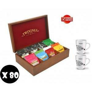twinings 80 filtri assortiti in box di legno originale + 2 tazze twinings