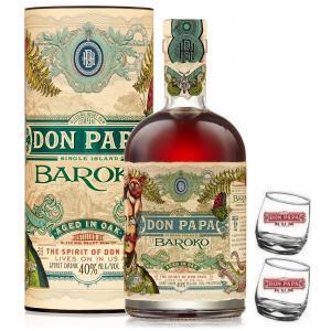 don papa don papa rum 70 cl + 2 bicchieri serigrafati