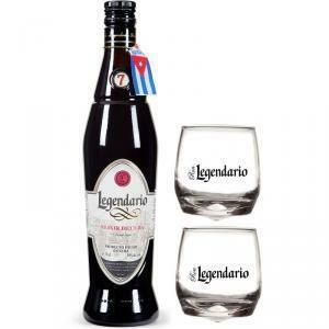 legendario legendario rum elixir de cuba 7 anni + 2 bicchieri basculanti serigrafati