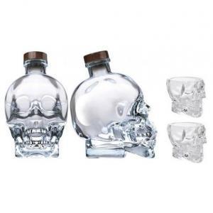 crystal head crystal head vodka 70cl  bottiglia a forma di teschio + 2 bicchieri originali
