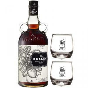 the kraken the kraken rum black spiced 70cl   2 bicchieri kraken logo bianco