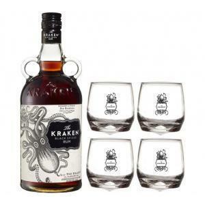 the kraken the kraken rum black spiced 70cl   4 bicchieri kraken