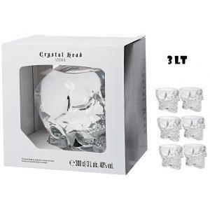 crystal head crystal head vodka 3 litri  bottiglia a forma di teschio + 6 bicchieri originali