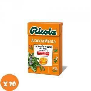 ricola ricola caramelle svizzere balsamiche gusto arancia menta senza zucchero (20pz)