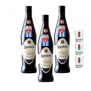 legendario legendario rum elixir de c. 7 anni 3 bottiglie + 3 bicchieri