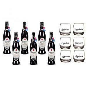 legendario rum elixir de c. 7 anni 6 bottiglie + 6 bicchieri legendario basculanti
