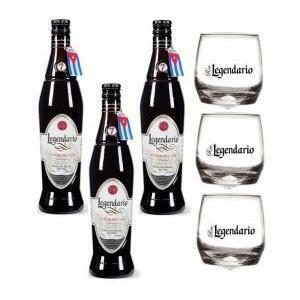 legendario rum legendario elixir de cuba   7 anni   3 bottiglie 70cl e 3 bicchieri legendario basculanti