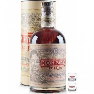 don papa don papa rum 70 cl in astuccio + 2 bicchieri con scritta