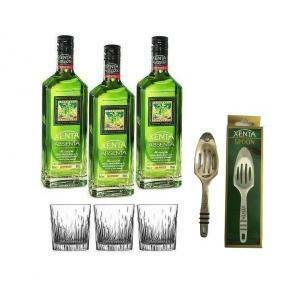 xenta xenta absenta assenzio 70 cl 3 bottiglie + 3 bicchieri