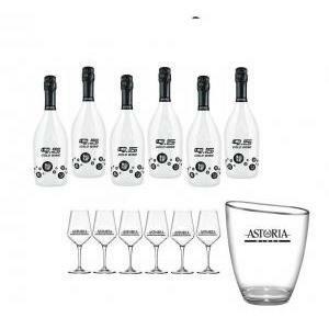 astoria astoria 9.5 cold wine brut 75 cl 24 bottiglie con 6 calici e secchiello