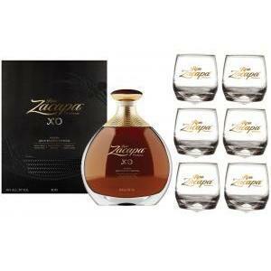 zacapa rum zacapa xo | 70 cl | in astuccio  con 6 bicchieri serigrafati basculanti