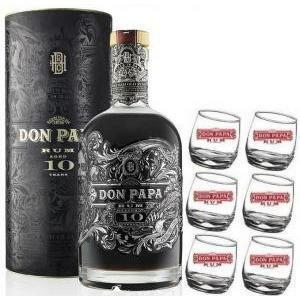 don papa don papa rum 10 anni edizione speciale in astuccio   6 bicchieri serigrafati
