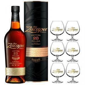 zacapa zacapa rum centenario 23 70 cl in astuccio   6 bicchieri balloon serigrafati