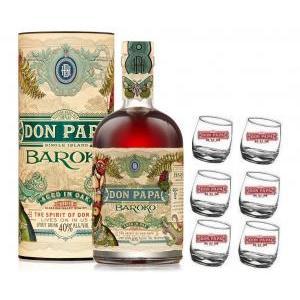 don papa don papa rum 70 cl   6 bicchieri serigrafati basculanti logo bianco