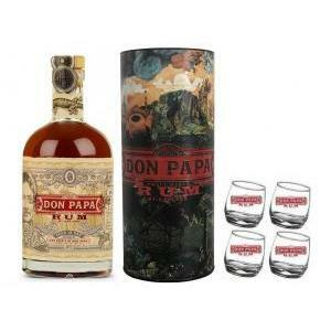 don papa don papa rum mt.kanland limited edition 70 cl in astuccio + 4 bicchieri