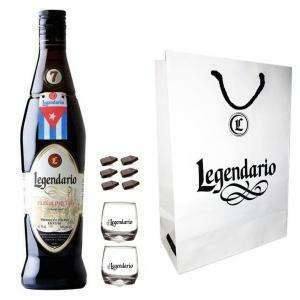 legendario legendario rum elixir de c. 7 anni 70 cl + shopper originale   2 bicchieri   cioccolatini