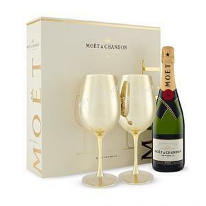 moet & chandon moet & chandon champagne imperial brut  solar + 2 calici moet + confezione regalo