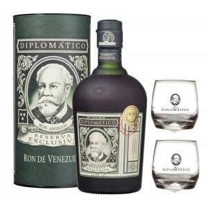 diplomatico ron reserva exclusiva 70 cl in astuccio   2 bicchieri diplomatico basculanti