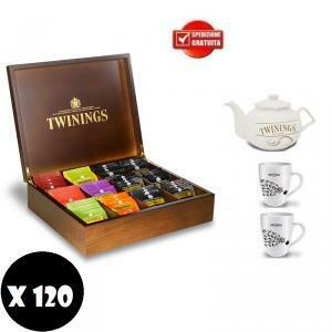 twinings twinings 120 filtri assortiti in box di legno originale + 2 tazze + 1 teiera
