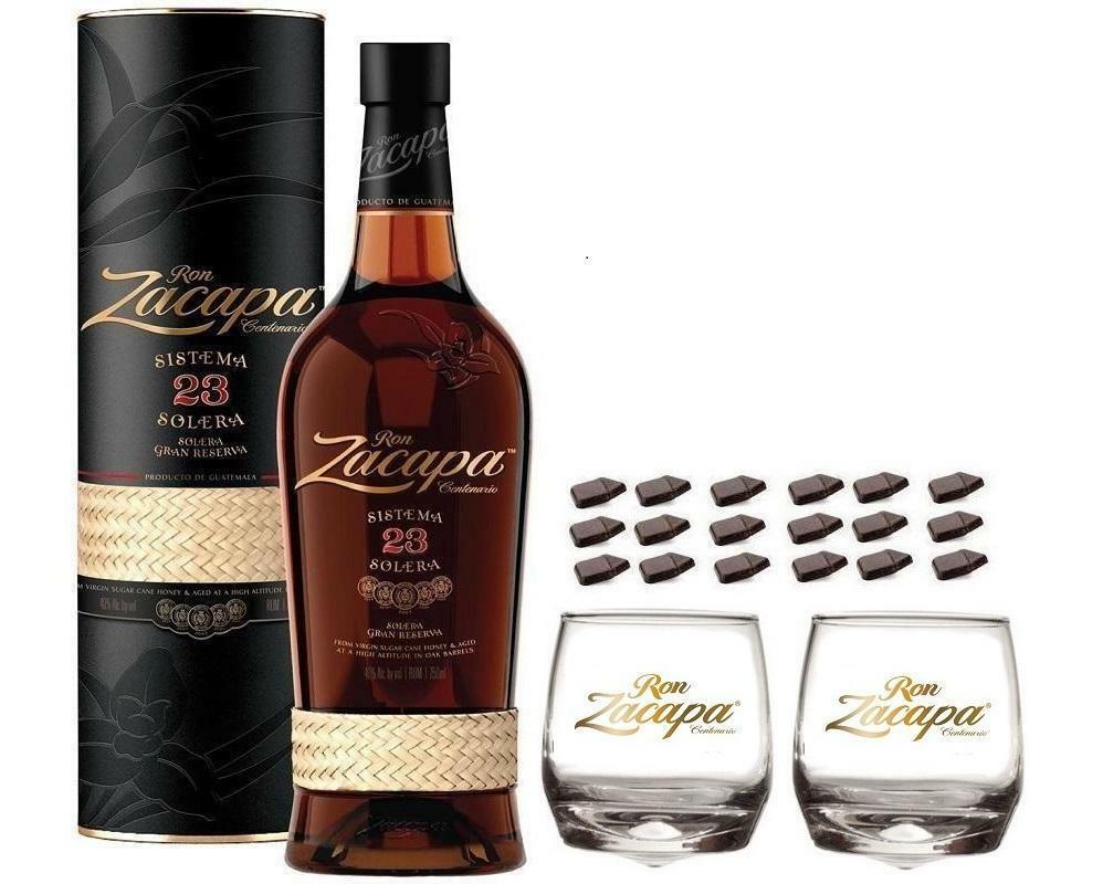 zacapa rum zacapa centenario 23 70cl in astuccio  con 2 bicchieri zacapa logo bianco e cioccolatini
