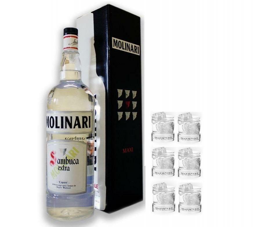 molinari molinari sambuca magnum 3 litri limited edition con 6 bicchieri
