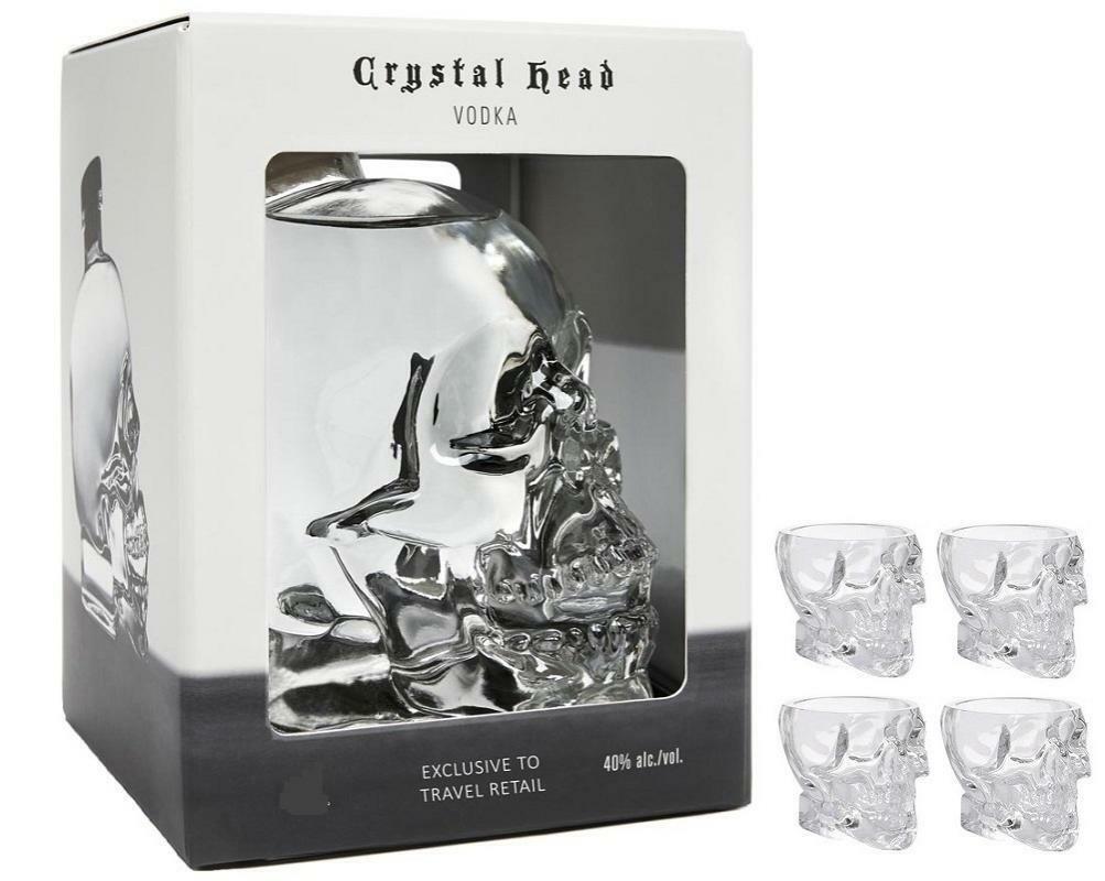 crystal head crystal head vodka 70 cl + 4 biccheri originali a forma di teschio