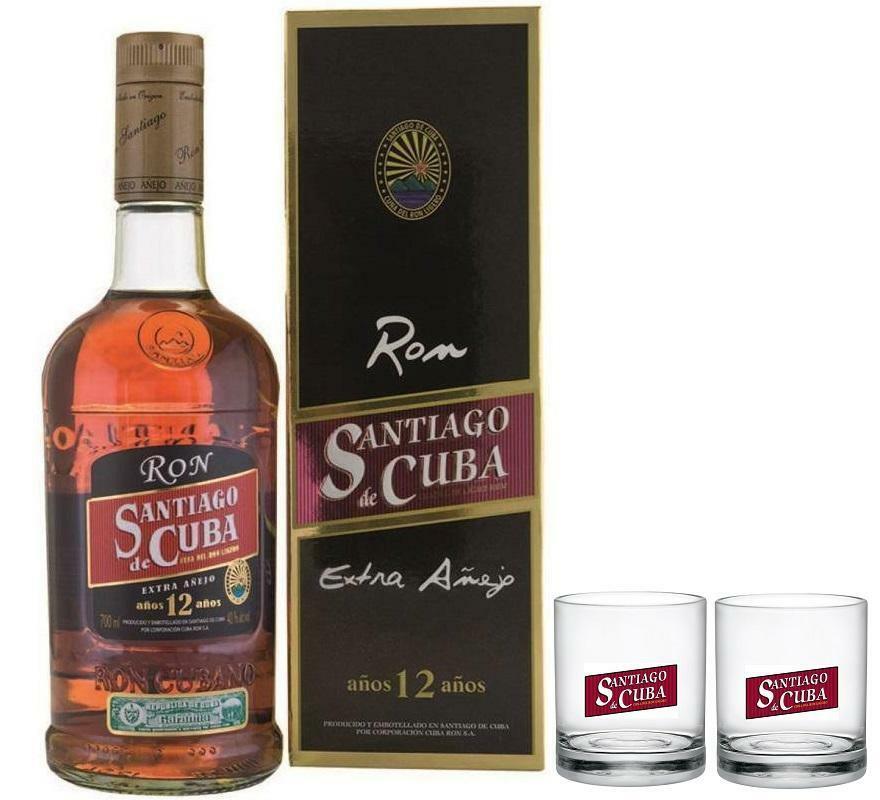 santiago de cuba santiago de cuba rum 12 anni in astuccio 70 cl   2 bicchieri originali