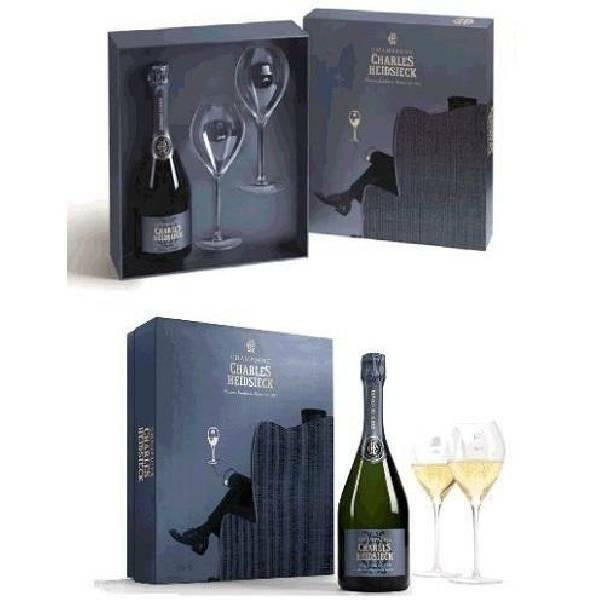 charles heidsieck charles heidsieck champagne brut reserve confezione regalo  bottiglia con 2 calici