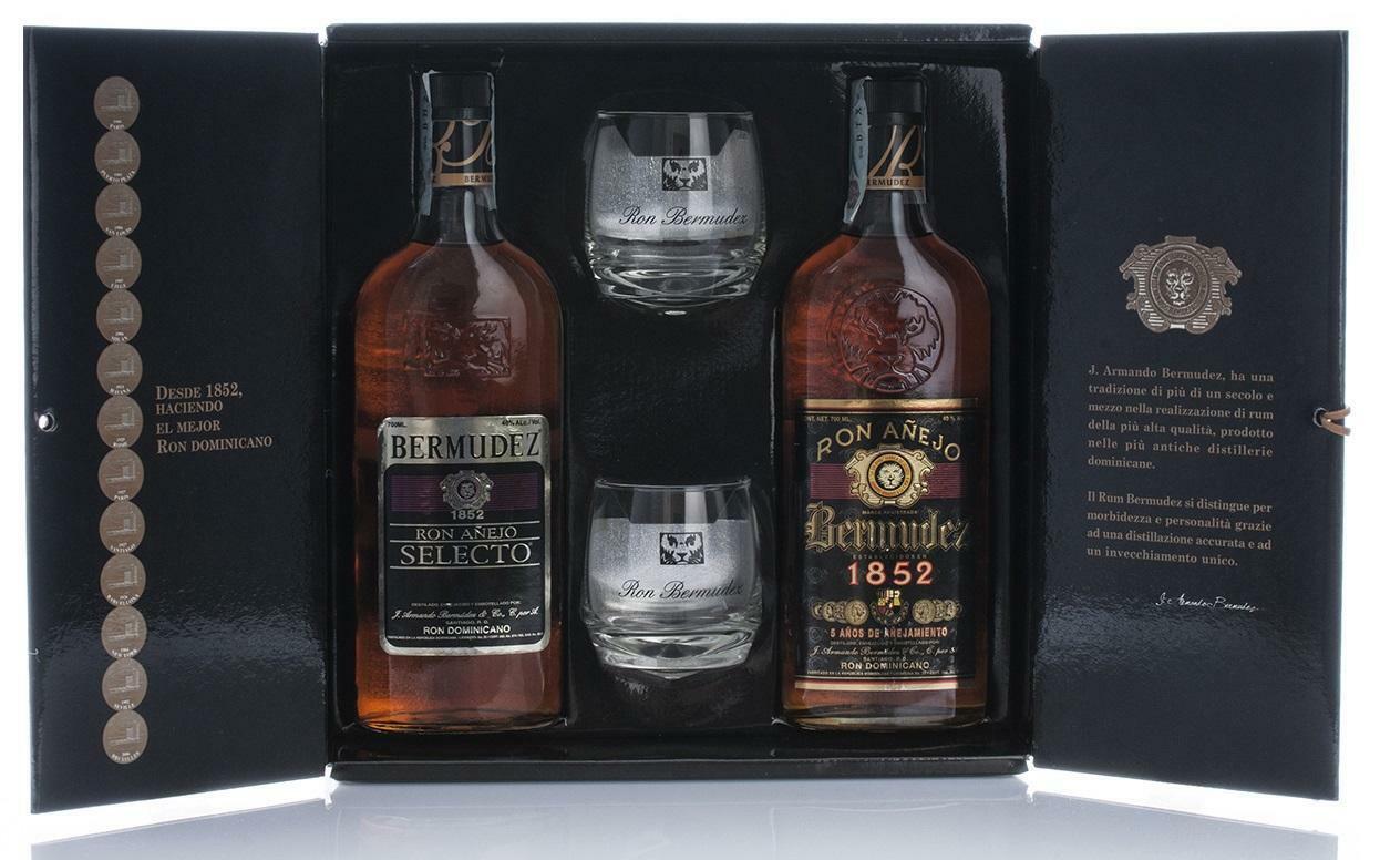 bermudez bermudez ron anejo selecto + ron anejo 1852 + 2 bicchieri in confezione regalo