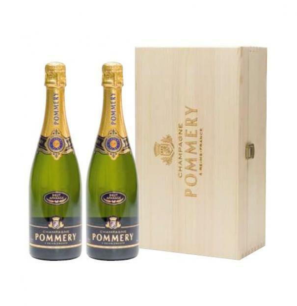 pommery pommery brut apanage 75 cl in confezione regalo di legno 2 bottiglie