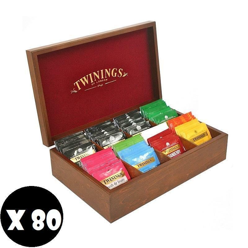twinings twinings 80 filtri assortiti in box di legno originale
