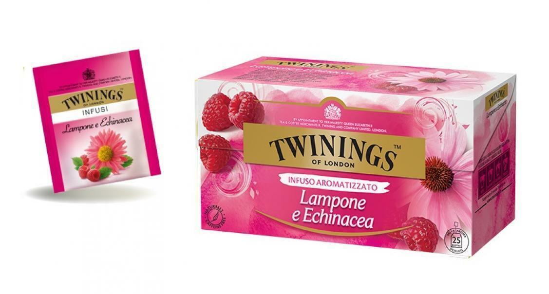 twinings twinings infuso aromatizzato lampone e echinacea 25 filtri