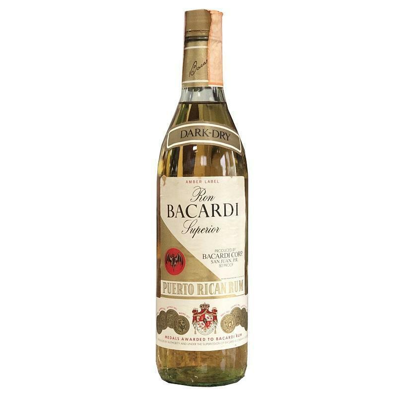 bacardi ron bacardi superior dark-dry amber label san juan. p.r. 75 cl