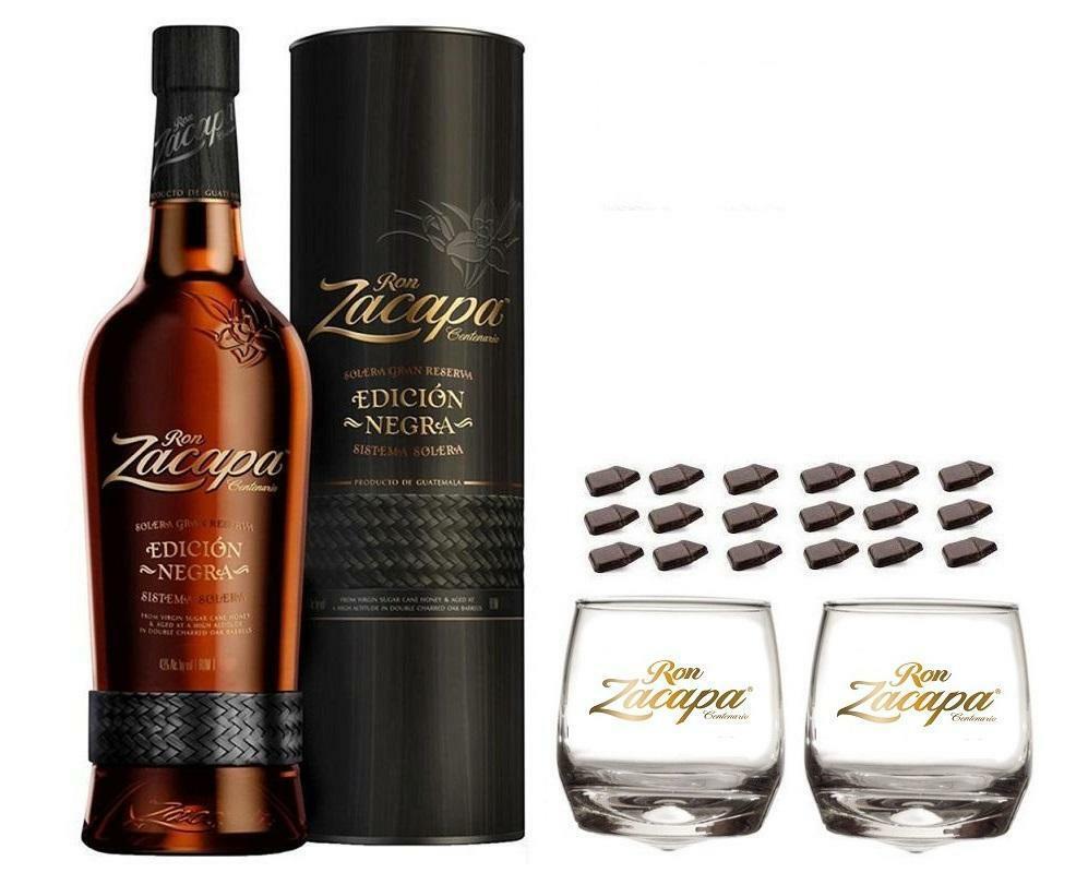 zacapa rum zacapa centenario 23 edicion negra 70cl n astuccio con 2 bicchieri zacapa logo bianco