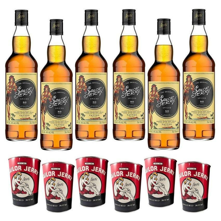 sailor jerry sailor jerry spiced caribbean rum  80 proof 70cl 6 bottiglie e 6 can cups