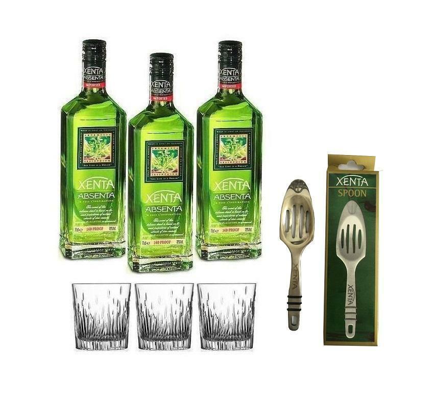 xenta xenta absenta assenzio 70 cl 3 bottiglie con 3 bicchieri, con spoon cucchiaio