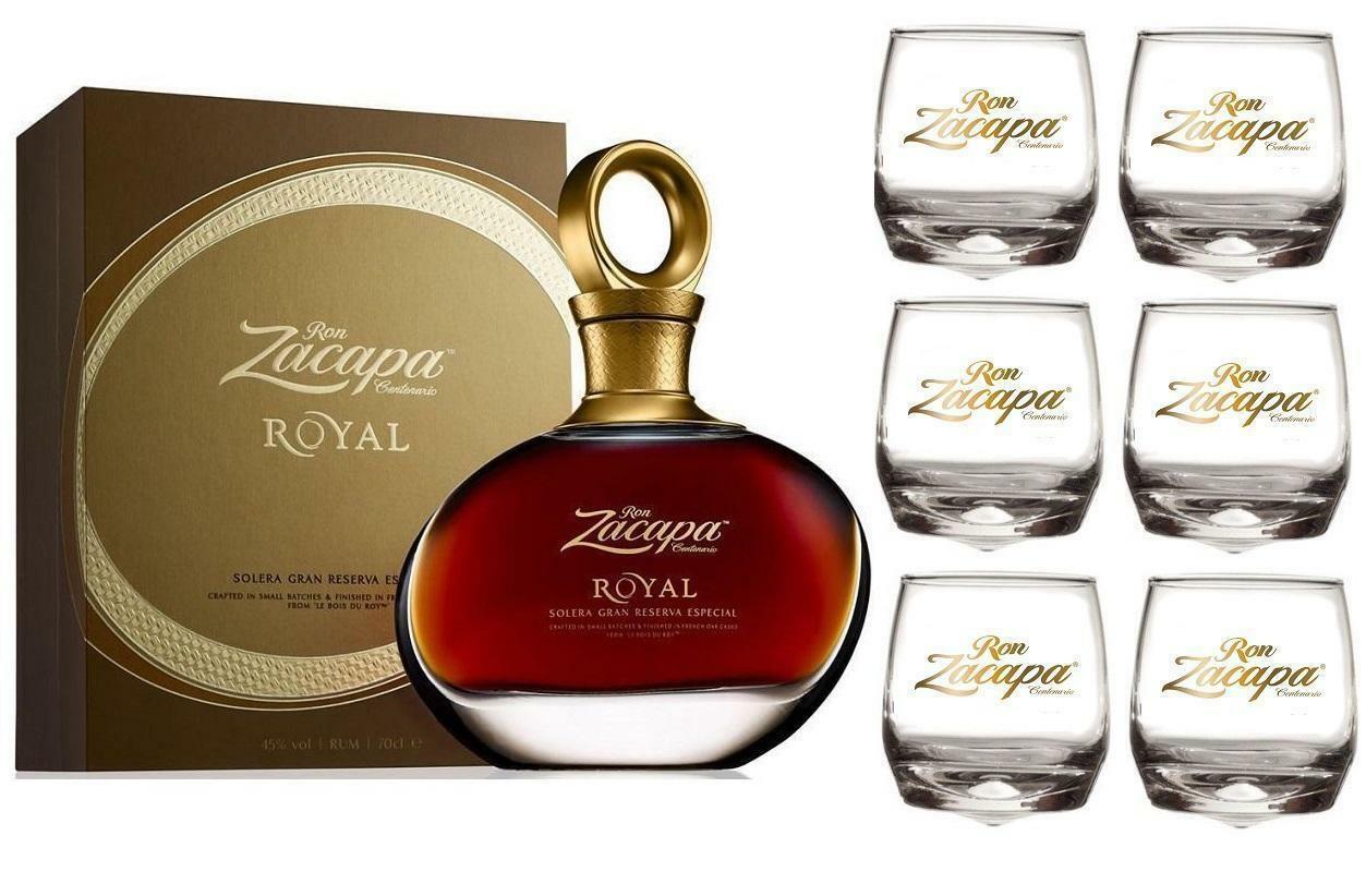 zacapa zacapa royal solera gran reserva especial 70 cl (in astuccio) + 6 bicchieri