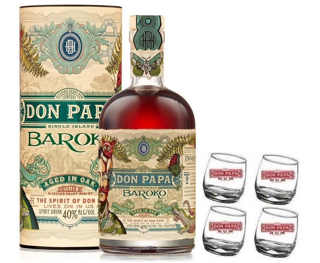 don papa rum don papa 70 cl con 4 bicchieri serigrafati basculanti logo bianco
