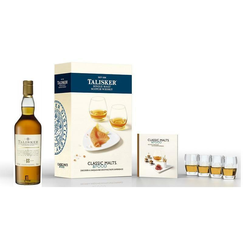 talisker talisker single malt scotch whisky 18 years classic malts & food special pack 4 bicchieri 70 cl in astuccio
