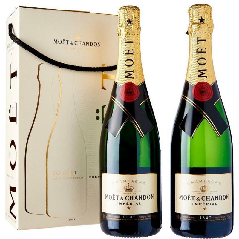 moet & chandon moet & chandon champagne reserve imperiale twin set 2 bottiglie confezione regalo 75 cl