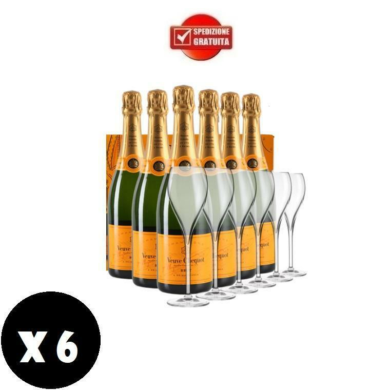 veuve clicquot veuve clicquot champagne brut 75 cl special pack 6 bottiglie + 6 bicchieri originali